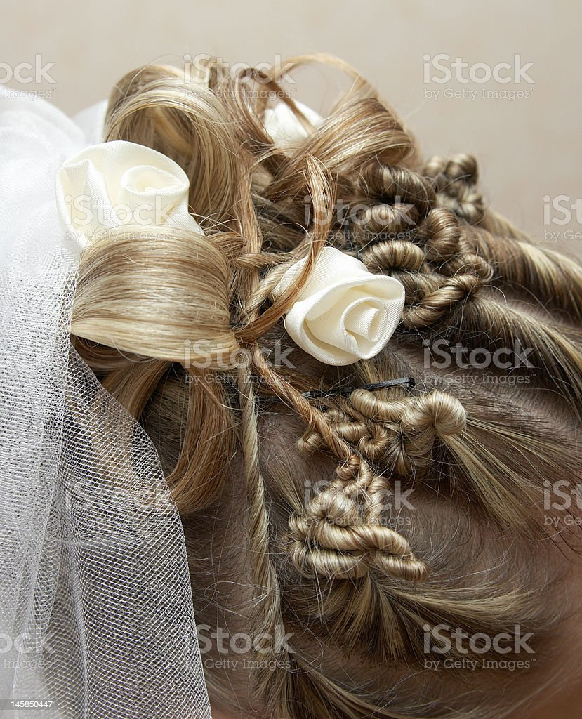 Beautiful stacking hair of the bride royalty-free stock photo