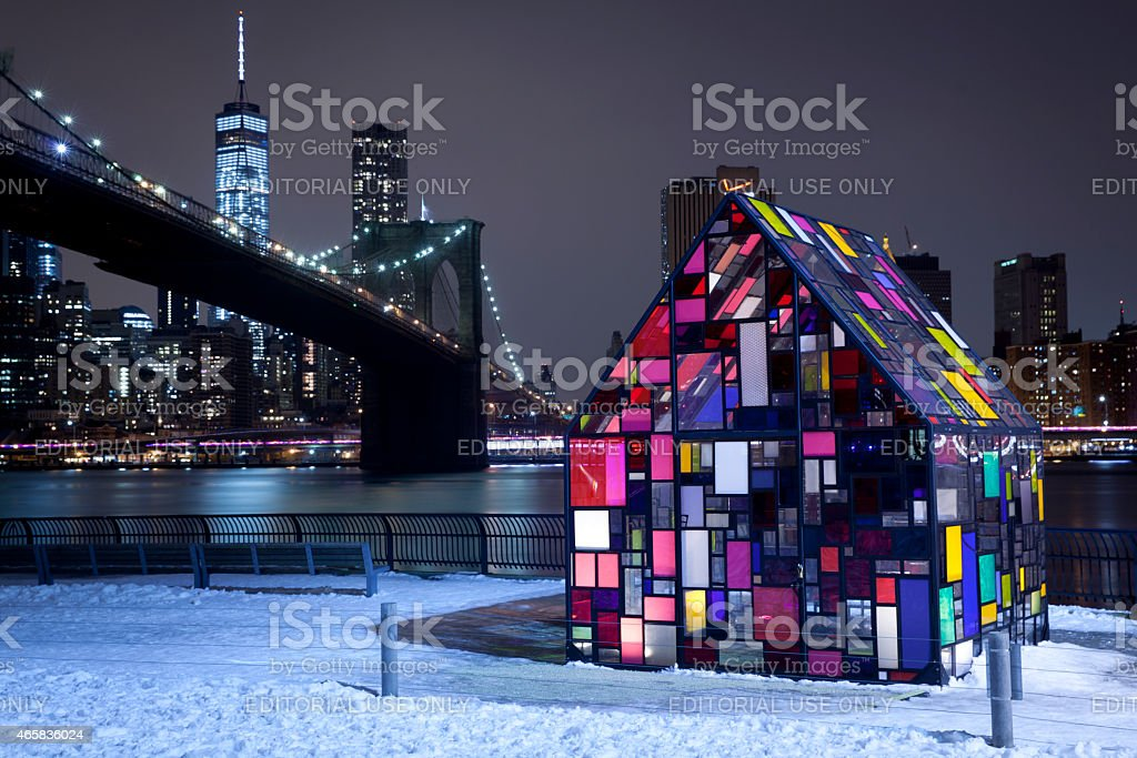 Beautiful Stained Glass House at Brooklyn Bridge Park stock photo