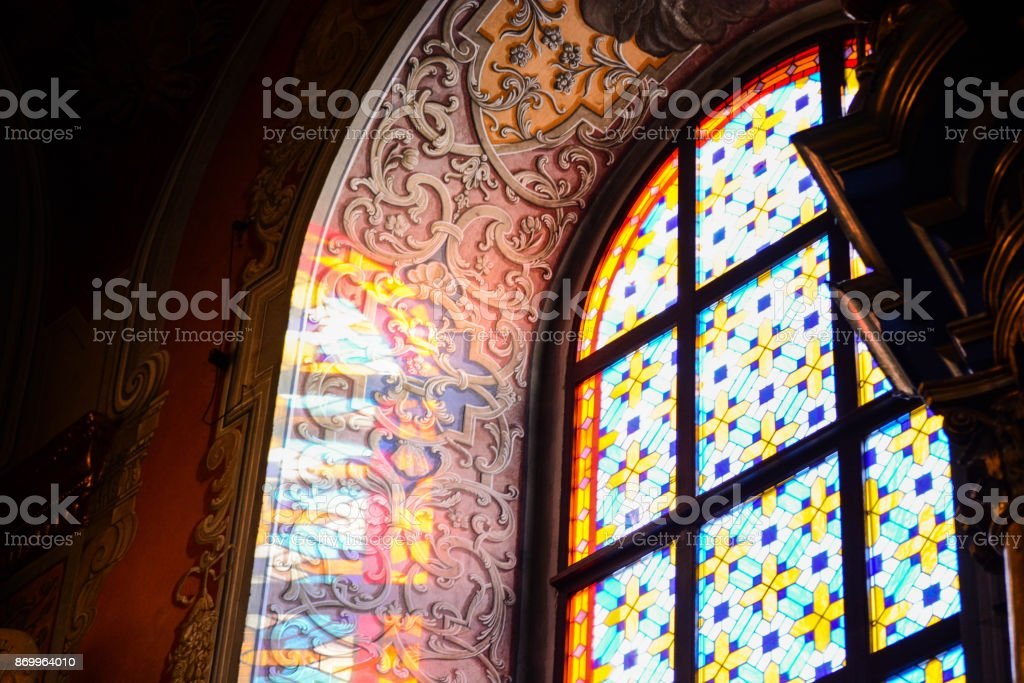 Beautiful stained glass window in church stock photo