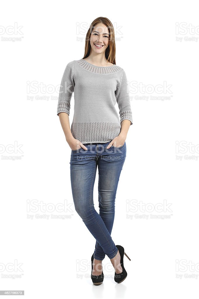 Beautiful standing woman model posing stock photo