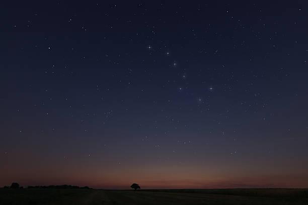 magnifique ciel étoilé au coucher du soleil avec constellations big dipper - grande ourse photos et images de collection