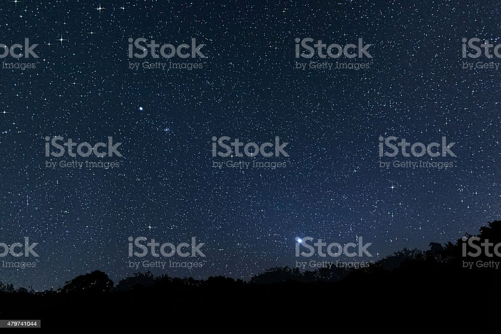Beautiful Star Field with planest Jupiter Venus and Constellations stock photo