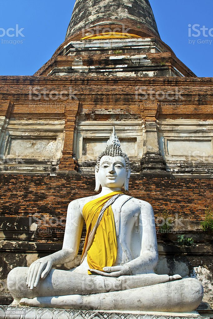 beautiful statue of Buddhas in temple Wat Yai Chai Mongkol royalty-free stock photo