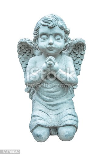 istock Beautiful statue of the angel praying isolated on white backgroud 625755380