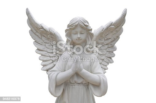 istock Beautiful statue of the angel praying isolated on white background. 948316978