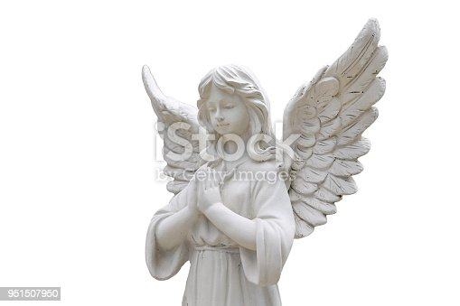 istock Beautiful statue of the angel praying isolated on white background. 951507950