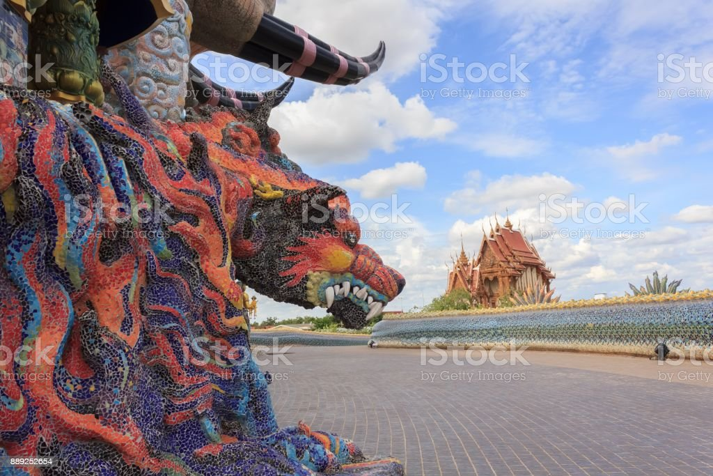 Beautiful statues of animals in the novel at temple of Thailand.