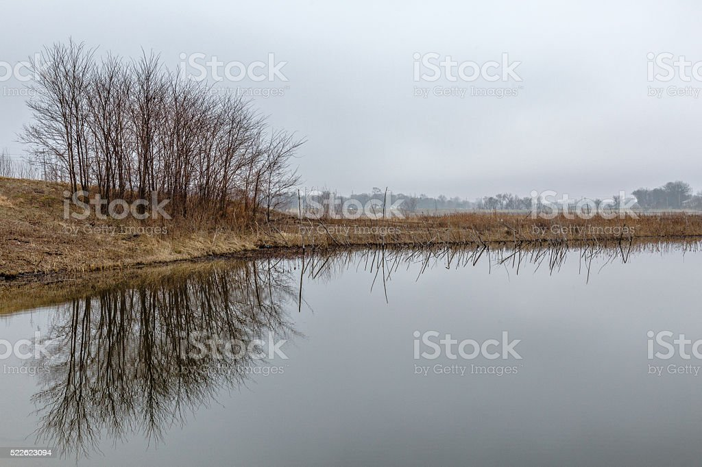 Beautiful Still Lake On Cloudy Day stock photo