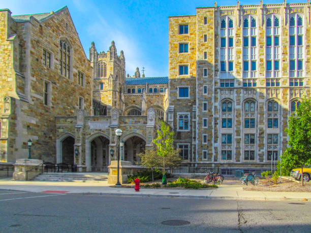 Beautiful stone building of of the University of Michigan, Ann Arbor, USA. City landscape on a sunny autumn day. ann arbor stock pictures, royalty-free photos & images