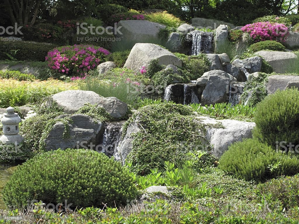 Beautiful stonegarden with waterfalls royalty-free stock photo