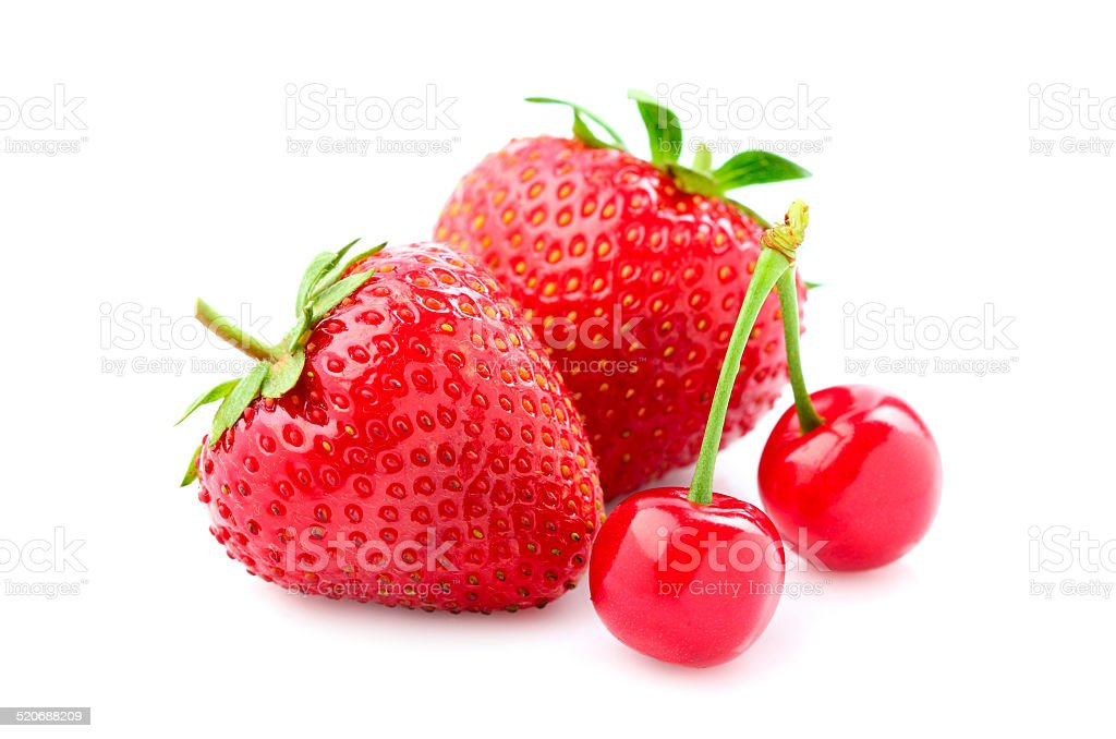 Beautiful strawberry and cherry. stock photo
