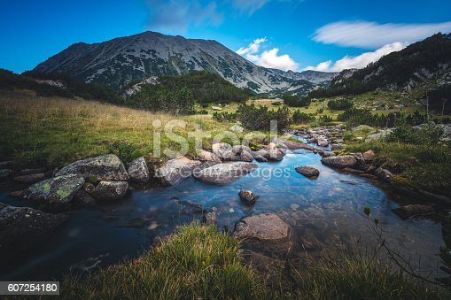 Clear blue sky over beautiful stream in a mountain valley