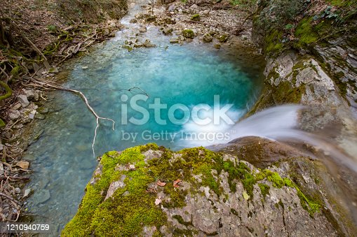 Beautiful Stream Pool From High Angle View.
