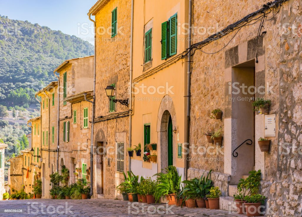 Beautiful street at the old village Valldemossa on Mallorca, Spain Balearic Islands stock photo