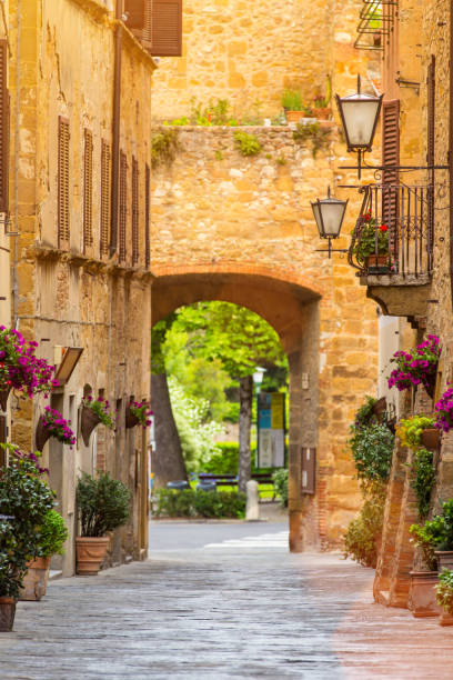 Beautiful street in a small old village Pienza, Tuscany Beautiful street in a small old village Pienza, Tuscany, Europe. pienza stock pictures, royalty-free photos & images