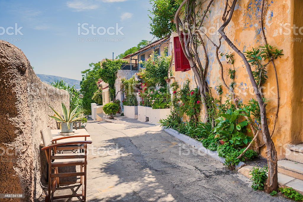 Beautiful street in Athens, Greece stock photo
