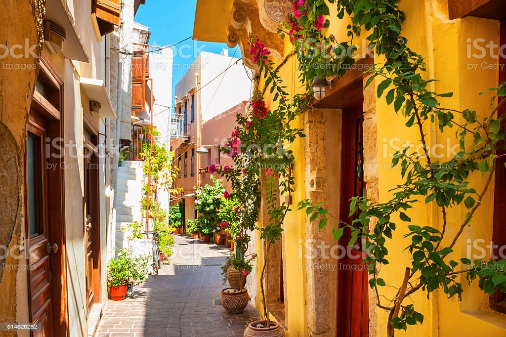 Beautiful street in Chania, Crete island, Greece. stock photo