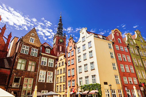 Beautiful street in Gdansk old town, Poland