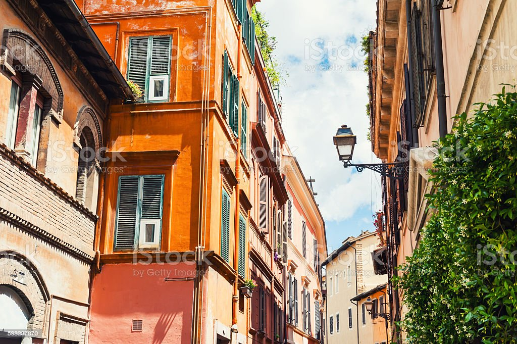 Beautiful street in Rome, Italy. stock photo
