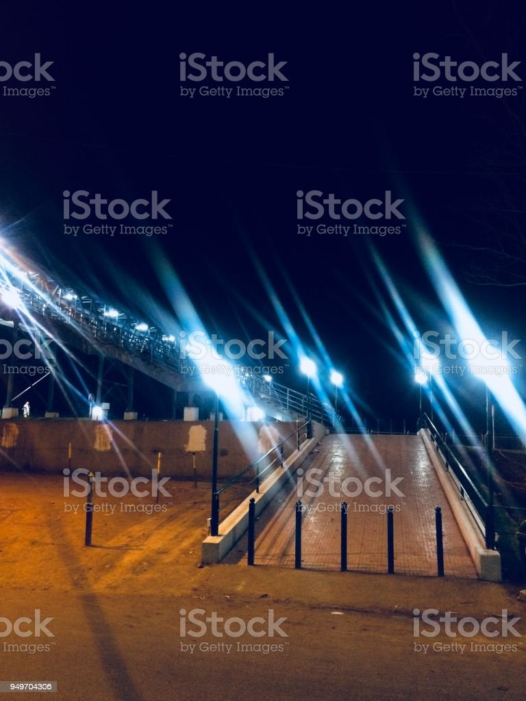 Beautiful street lights in the city streets of Bangalore, India stock photo