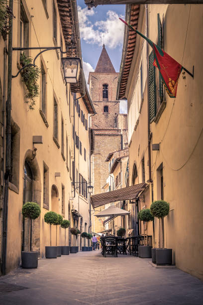 Beautiful street of Arezzo, Tuscany Beautiful street of captivating Arezzo town in Tuscany, Italy arezzo stock pictures, royalty-free photos & images