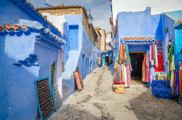 beautiful street of blue medina in city chefchaouen,  morocco, africa - north africa stock photos and pictures