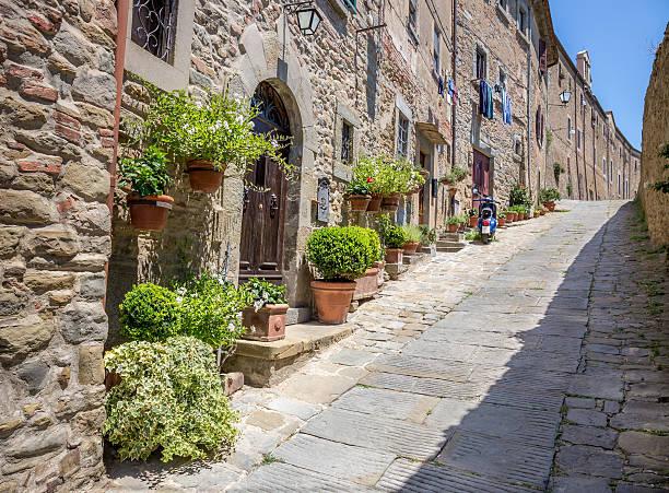 Beautiful street of Cortona, Tuscany stock photo