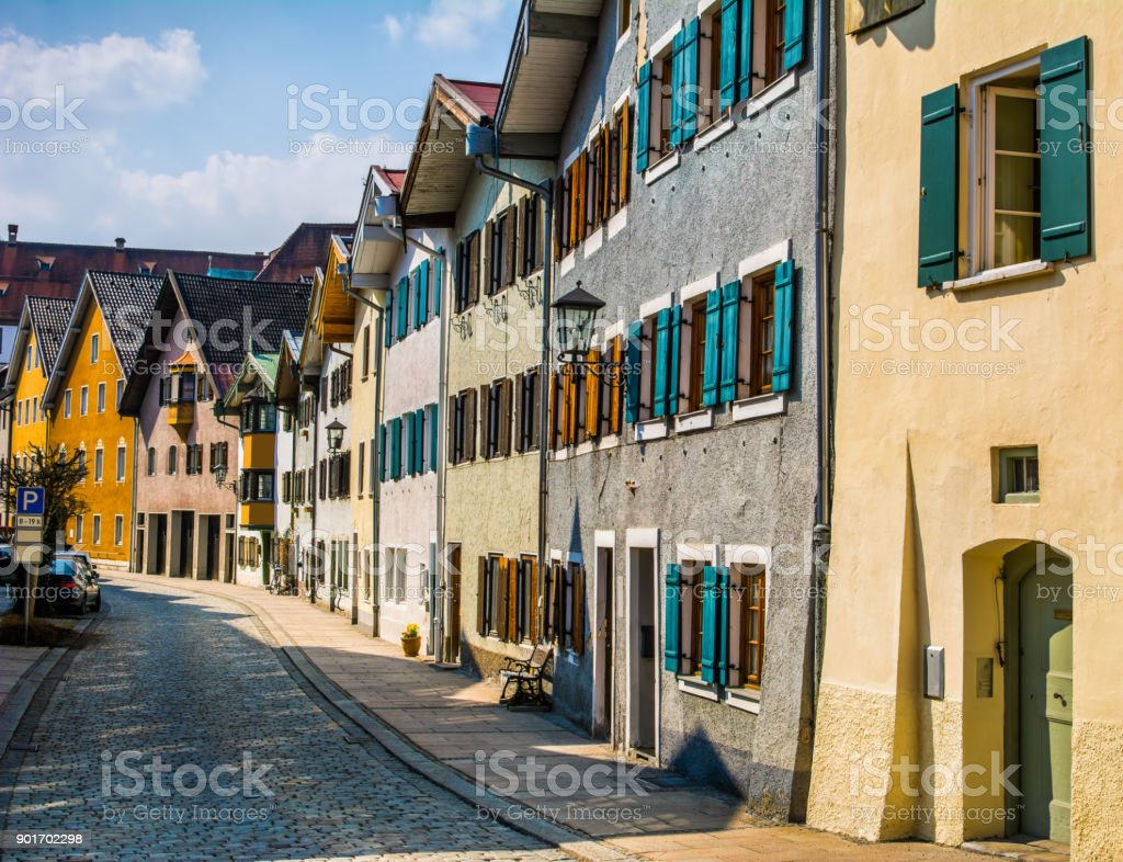 Beautiful street of old buildings, Fussen city, Germany stock photo