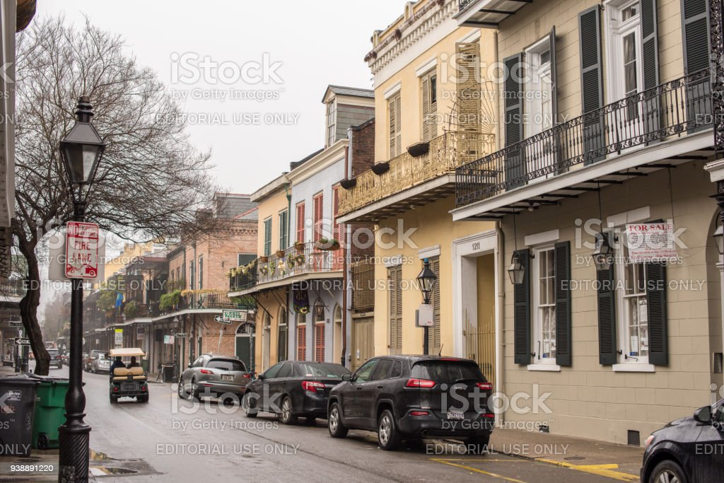 Beautiful street scene in the French Quarter stock photo