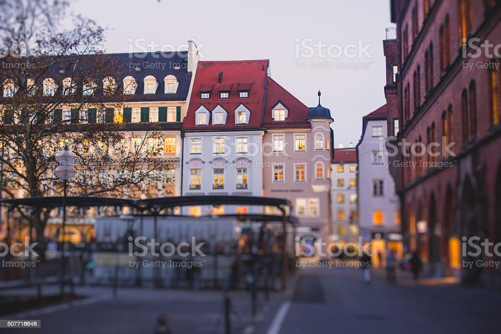 Beautiful street view view of Munich, Bayern, Bavaria stock photo