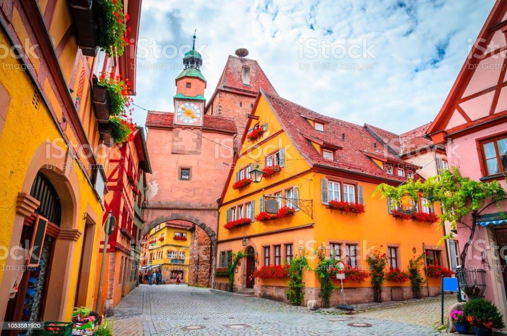 Mooie straten in Rothenburg ob der Tauber met traditionele Duitse huizen, Beieren, Duitsland - Royalty-free Antiek - Toestand Stockfoto