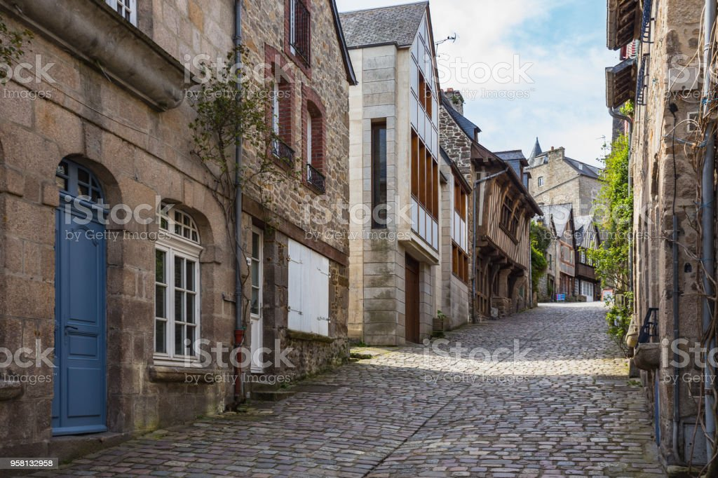 beautiful streets with colombage houses in the famous city of Dinan. Normandy, France stock photo