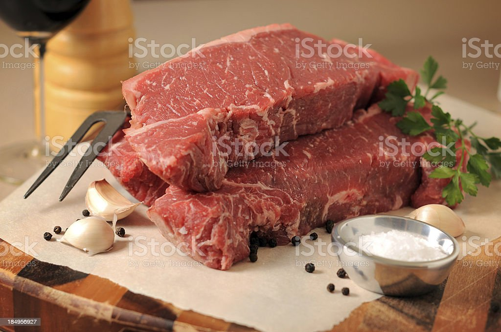 Beautiful Strip Loin (New York) Steaks royalty-free stock photo