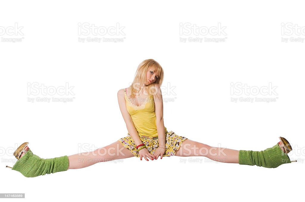 Beautiful stripper doing the splits on white background royalty-free stock photo
