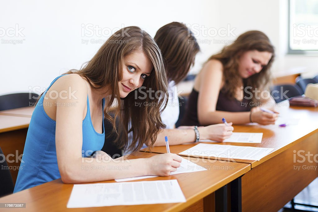 Beautiful Student During Test royalty-free stock photo