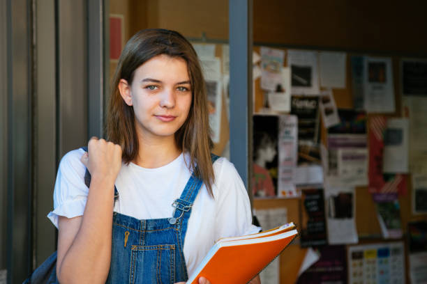 Beautiful student girl at the school entrance stock photo