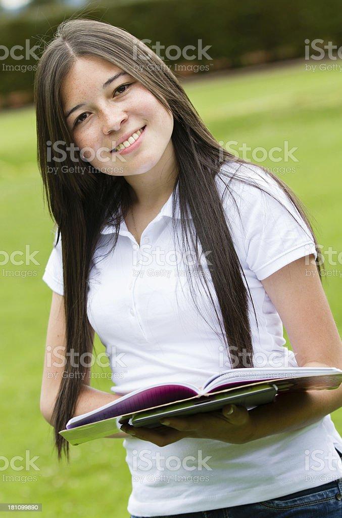 Beautiful student smiling royalty-free stock photo