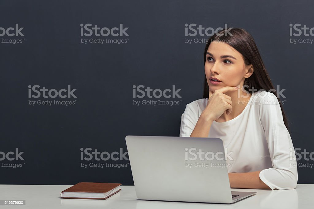 Beautiful student with gadget stock photo