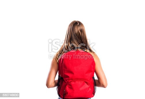 istock Beautiful student with schoolbag. Studio shot on white backgroun 530746630