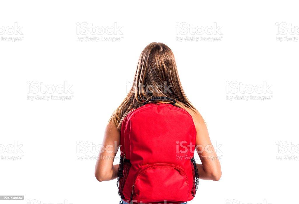 아름다운 학생 및 schoolbag. 스튜디오 슛 흰색 backgroun 스톡 사진