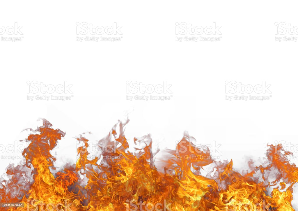 Beautiful stylish fire flames, against the white background