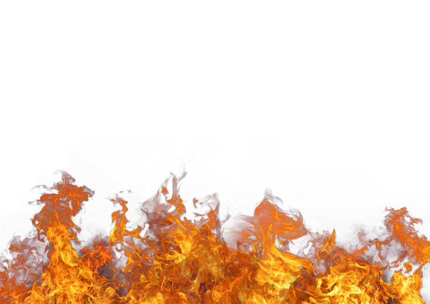 Beautiful stylish fire flames, against the white background stock photo