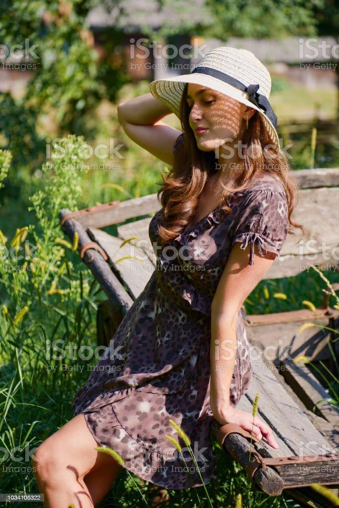 Beautiful stylish girl and summer village garden stock photo