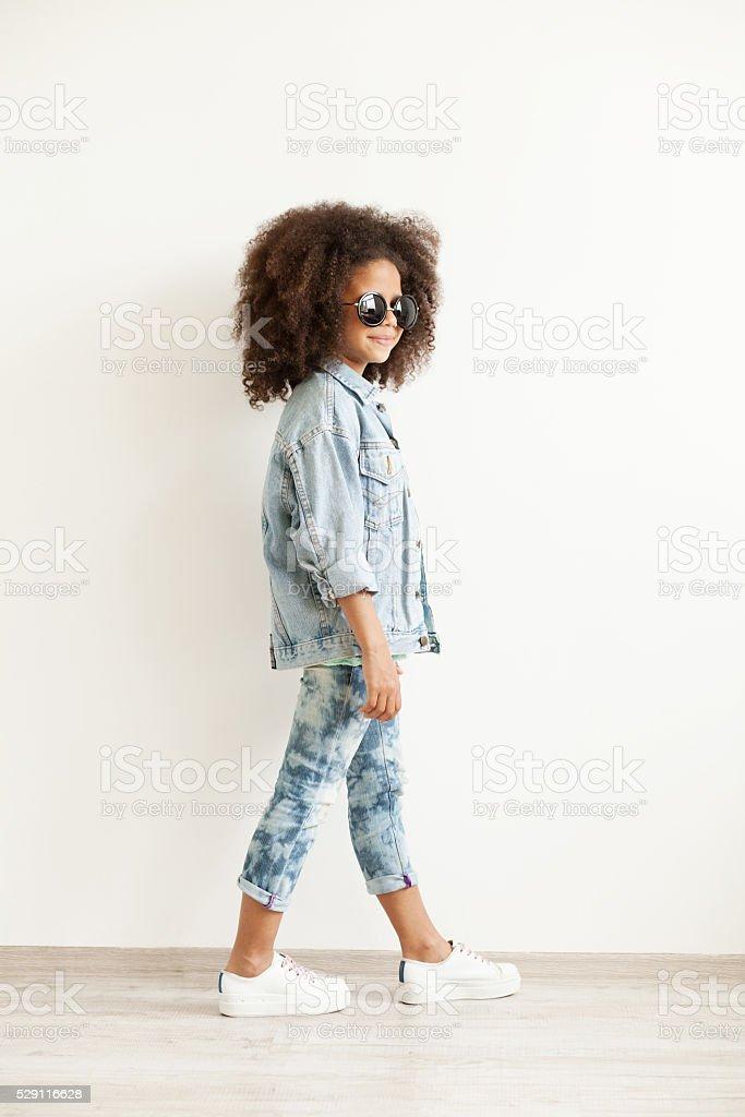 Beautiful stylish little girl stock photo