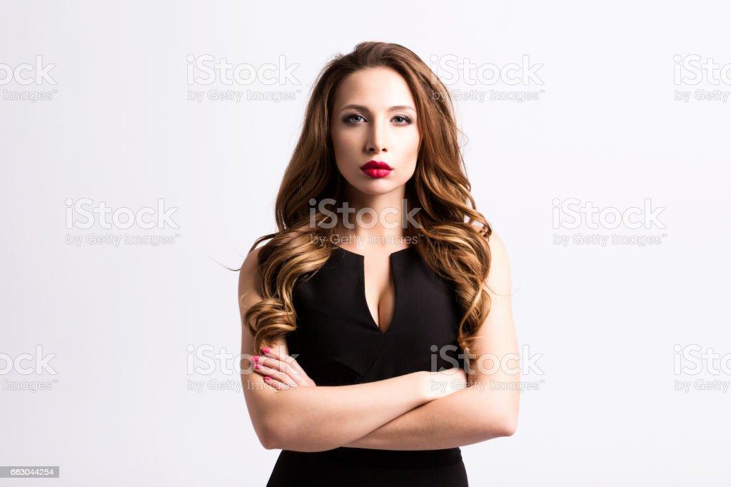 Beautiful stylish woman in a black dress. royalty-free stock photo