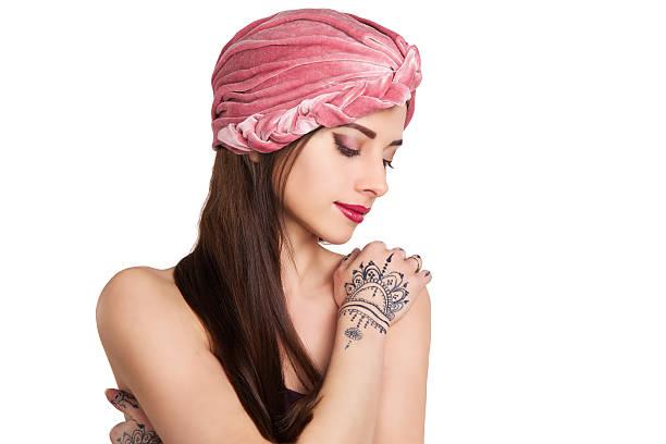 beautiful stylish woman in oriental style in turban stock photo