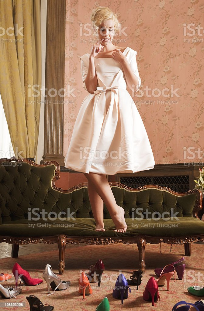 Beautiful, Stylish Woman, Shoes Attacking stock photo