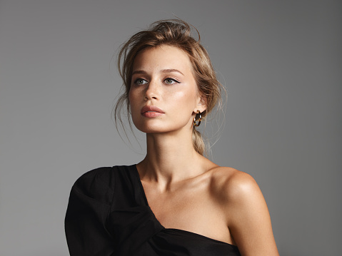 Beautiful stylish woman wearing black top