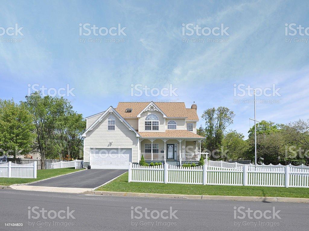Beautiful Suburban Home White Picket Fence stock photo