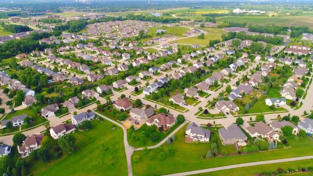 Beautiful suburban neighborhoods, nice homes, aerial view stock photo